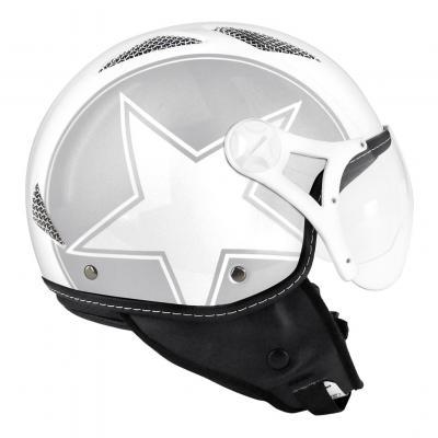 Casque jet TNT Helios Star argent/blanc brillant