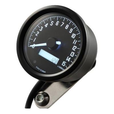 Compte-tours, Daytona Digital VELONA 2, noir 60 mm, 15000 trs/min, avec support