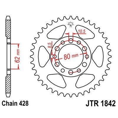 Couronne JT Sprockets Acier pas 428 50 dents - Pour Yamaha TW 125 99-02