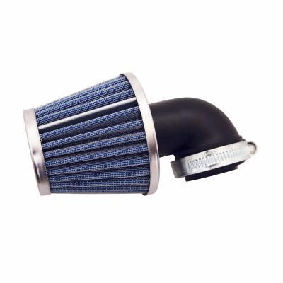 Filtre à air KN Replay middle avec fixation coudée Ø35-25 chrome-bleu