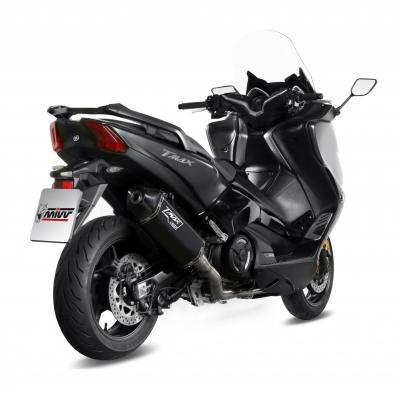 Ligne d'échappement complète Mivv Speed Edge Inox noir casquette carbone Yamaha T-Max 530 17-18