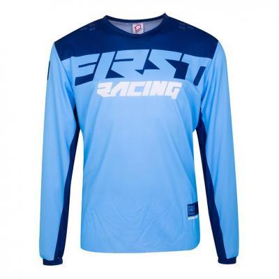Maillot cross First Racing Data Evo bleu/marine/blanc