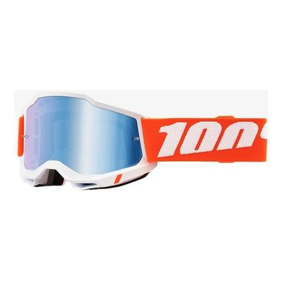 Masque cross 100% Accuri 2 Sevastopool blanc/orange écran iridium bleu