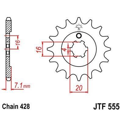 Pignon JT Sprockets Acier pas 428 13 dents - Pour Kawasaki KX 85 01-15