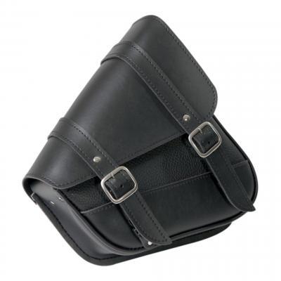 Sacoche gauche de bras oscillant Sportster 86-20 Willie & Max noir double sangles boucle chrome