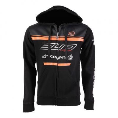 Sweat à capuche zippé enfant Bud Racing Team 19 orange/noir