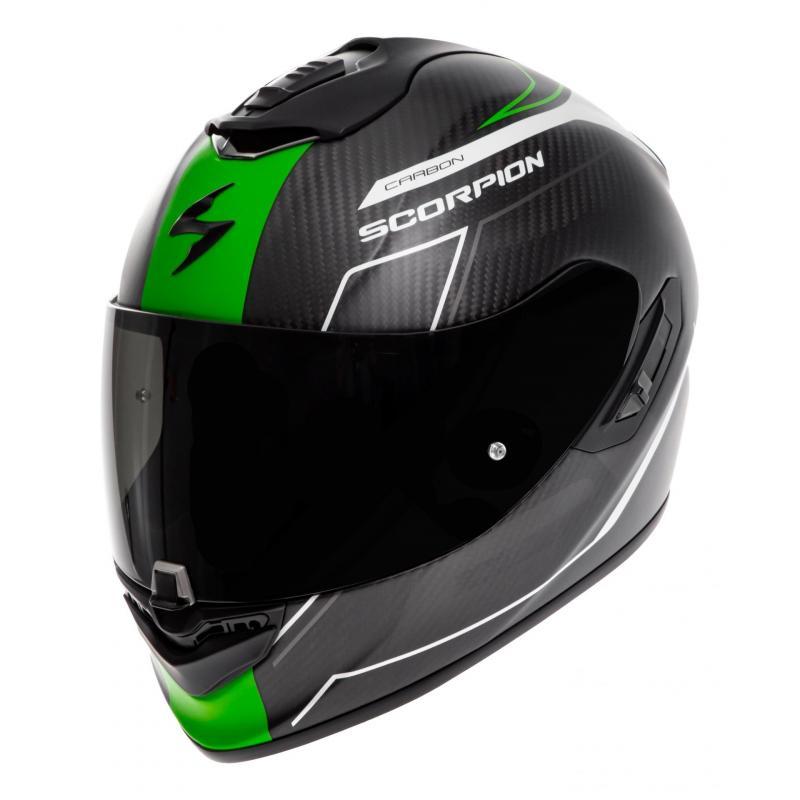 Casque intégral Scorpion Exo-1400 Carbon Air Beaux blanc/vert mat