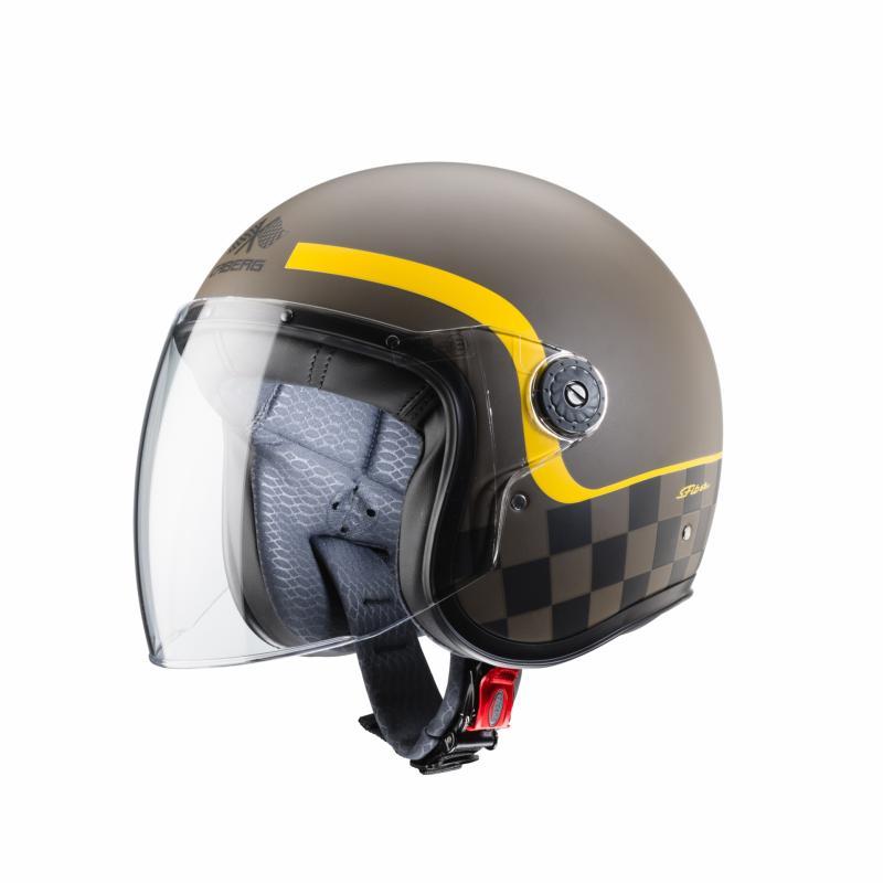 Casque jet Caberg Freeride Formula marron mat/jaune - 1
