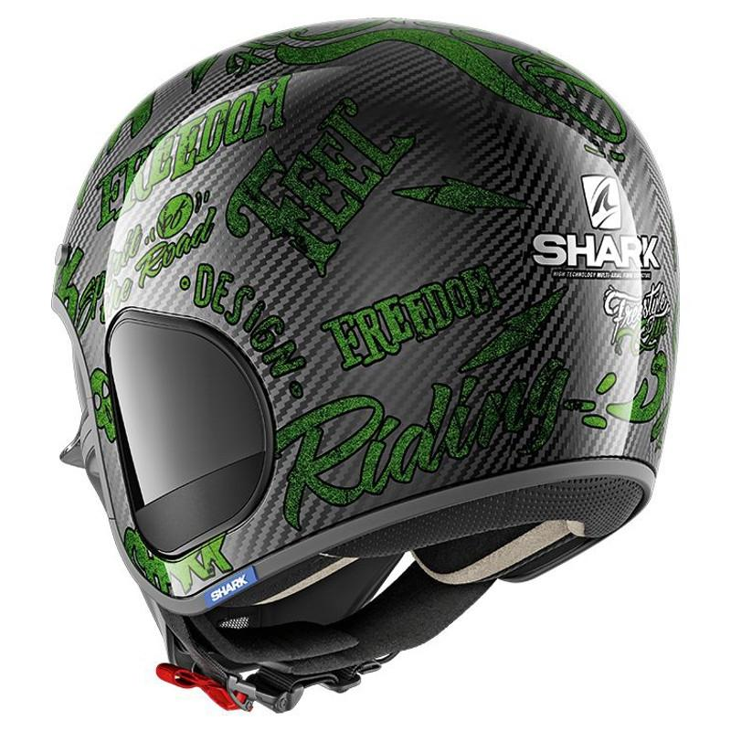 Casque jet Shark S-DRAK FREESTYLE CUP carbone/vert - 1