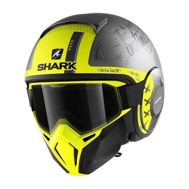 Casque jet Shark Street-Drak Tribute RM Mat anthracite/argent/jaune