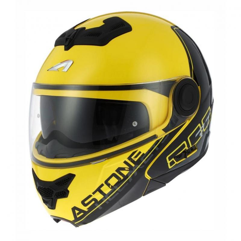 Casque modulable Astone RT800 graphic exclusive LINETEK jaune/gris