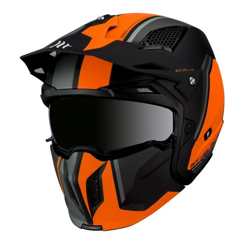 Casque transformable MT Helmets Streetfighter SV orange-noir mat
