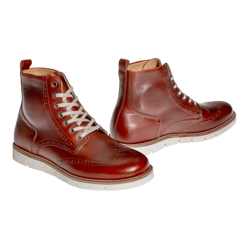 Chaussures moto Helstons Holey Cuir Aniline marron