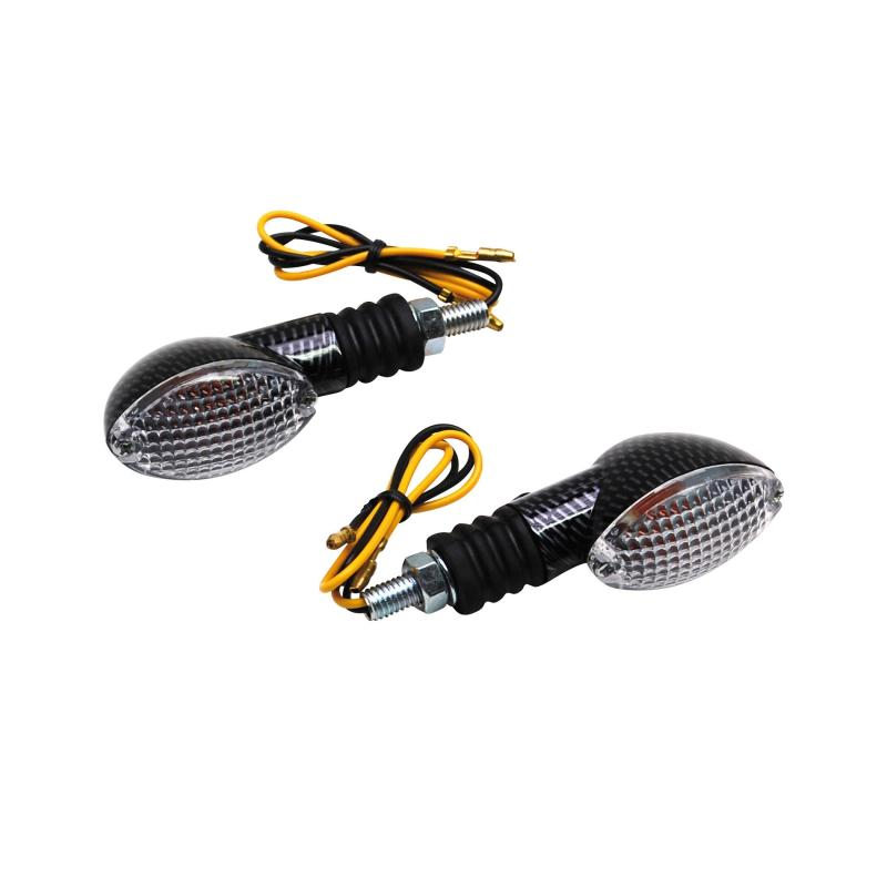 Clignotants Replay mini ovale transparent/carbone (paire)