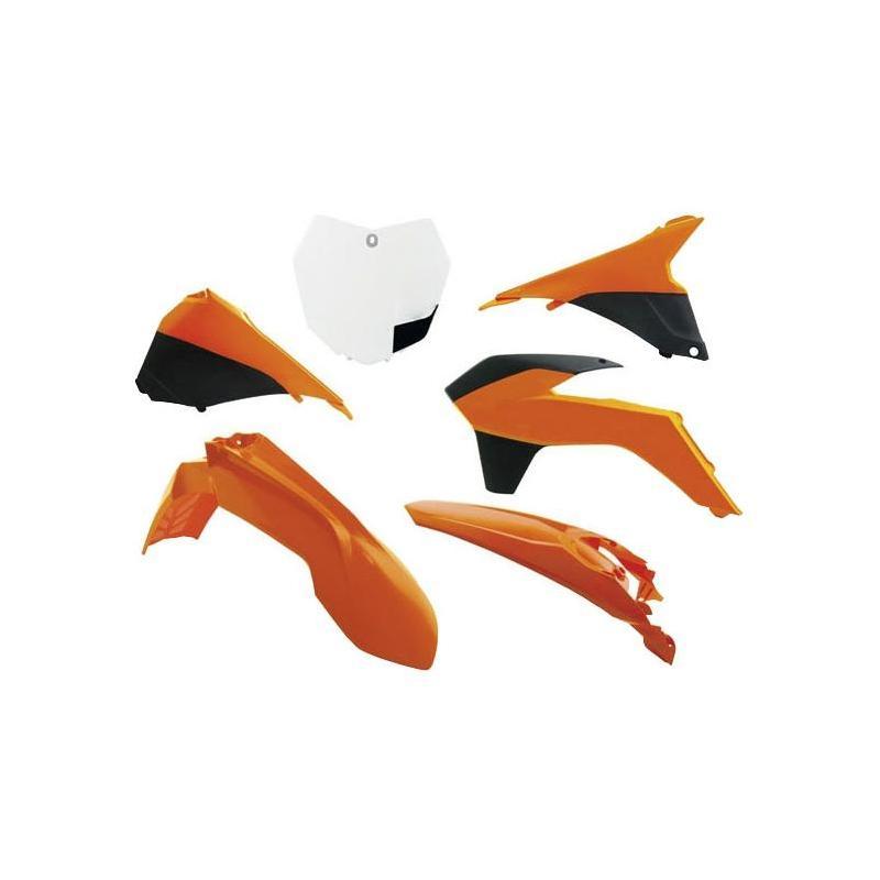 Kit plastique RTech KTM 125 SX 13-15 blanc/orange/noir (couleur OEM 13-14)