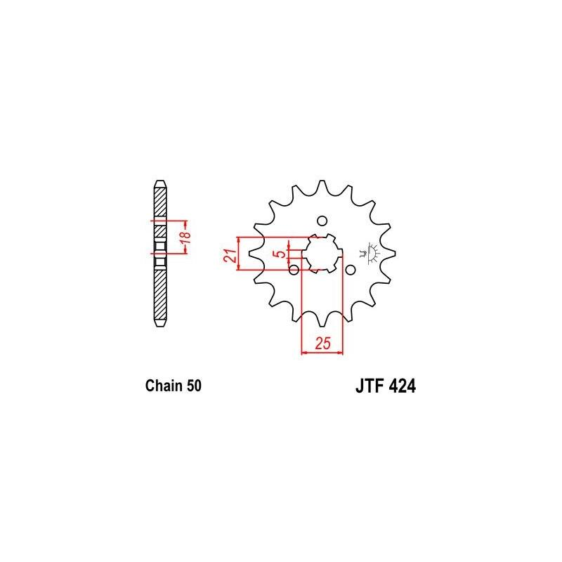 Pignon JT Sprockets Acier pas 428 16 dents - Pour Suzuki GT 750 74-77