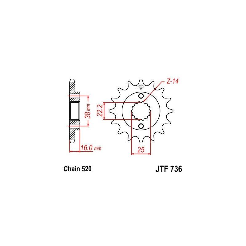 Pignon JT Sprockets Acier pas 520 13 dents - Pour Ducati 748 95-03