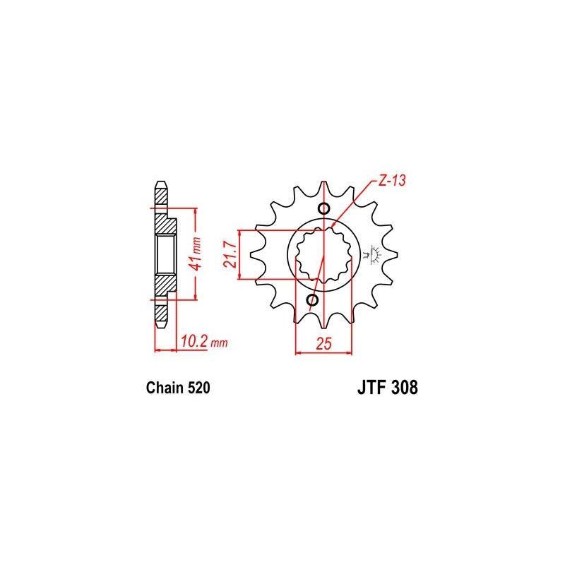 Pignon JT Sprockets Acier pas 520 14 dents - Pour Honda FMX 650 05-08