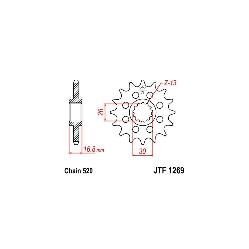 Pignon JT Sprockets Acier pas 520 16 dents - Pour Honda CBR 600 RR 07-16