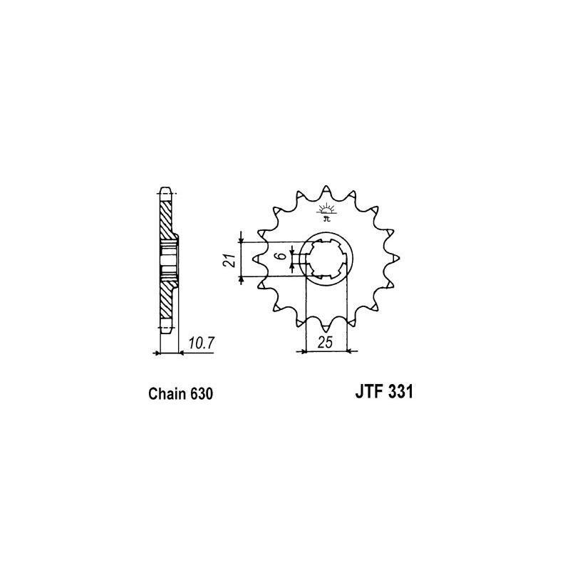Pignon JT Sprockets Acier pas 630 15 dents - Pour Honda CB 750 1977