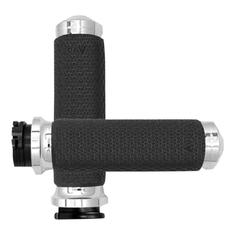 Poignées Avon Ø 38mm mémoire de formes tirage par câble embout arrondies Twin-Cam 99-17 chrome