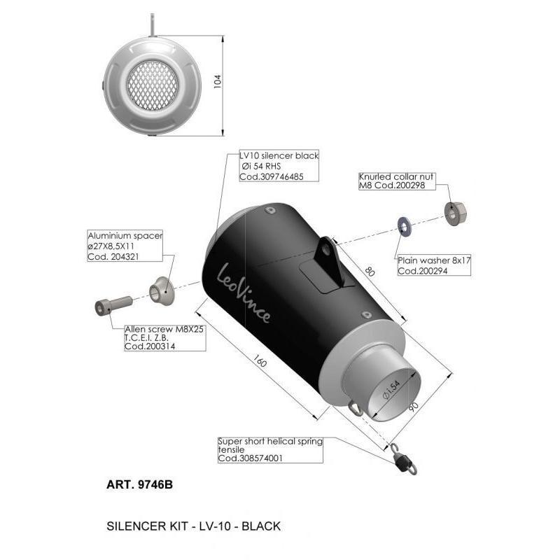 Silencieux universel Leovince LV-10 inox noir Ø 54 mm - 2