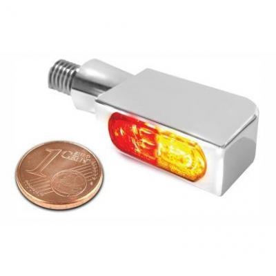 Clignotants LED Heinz Bikes Blokk-Line SMD Micro chromés avec feu arrière et feu stop intégrés