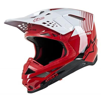 Casque cross Alpinestars Supertech S-M10 Dyno rouge/blanc