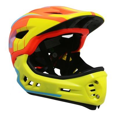 Casque vélo BMX Kiddimoto Intégral Fall Ikon orange/jaune/bleu avec mentonnière détachable