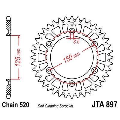 Couronne JT Sprockets Aluminium pas 520 50 dents - Pour KTM SX 250 97-03