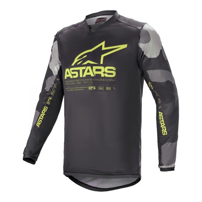Maillot cross Alpinestars Racer Tactical gris camouflage/jaune fluo