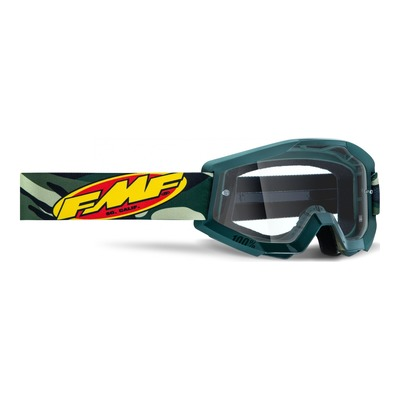 Masque cross FMF Vision PowerCore Assault camo vert - écran clair