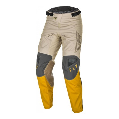 Pantalon cross Fly Racing Kinetic K121 moutarde/stone/gris