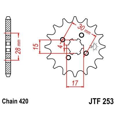 Pignon JT Sprockets Acier pas 420 15 dents - Pour Honda CR 80 R 1985