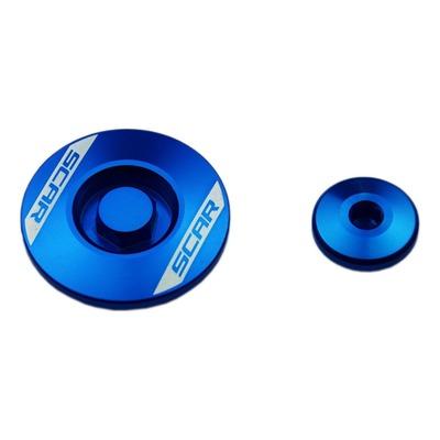 Bouchons de carter moteur latéraux Scar en aluminium anodisé bleu pour Yamaha YZ 250 F 14-16