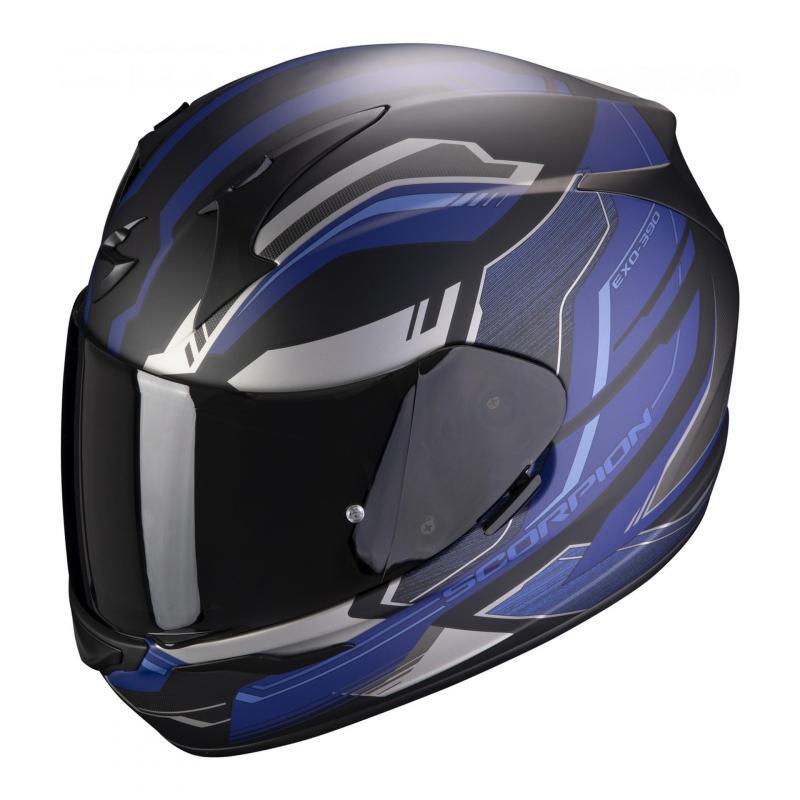 Caque intégral Scorpion Exo-390 Boost noir/argent/bleu mat