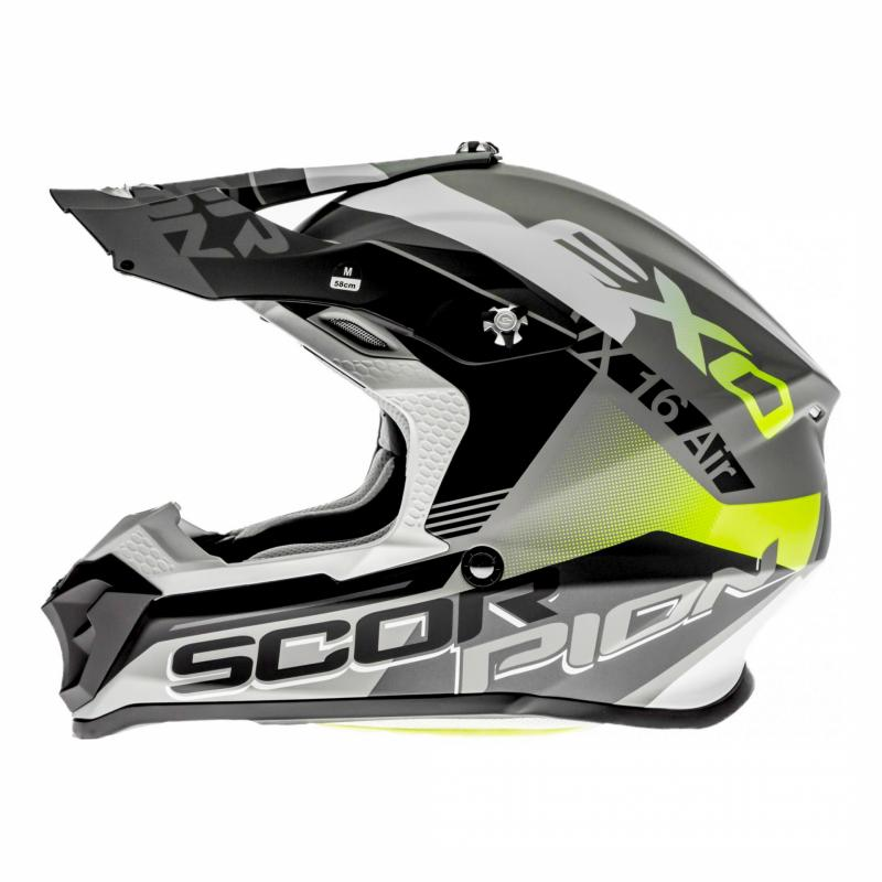 Casque cross Scorpion VX-16 Air Arhus Mat argent/noir/jaune fluo - 1