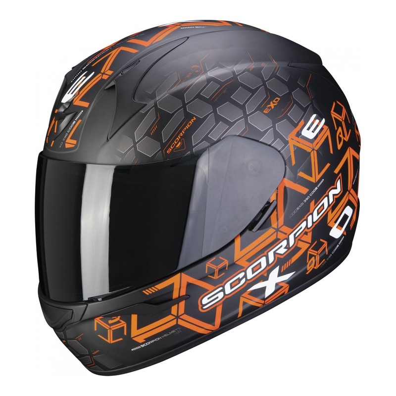 Casque intégral Scorpion EXO-390 Cube Mat noir/orange