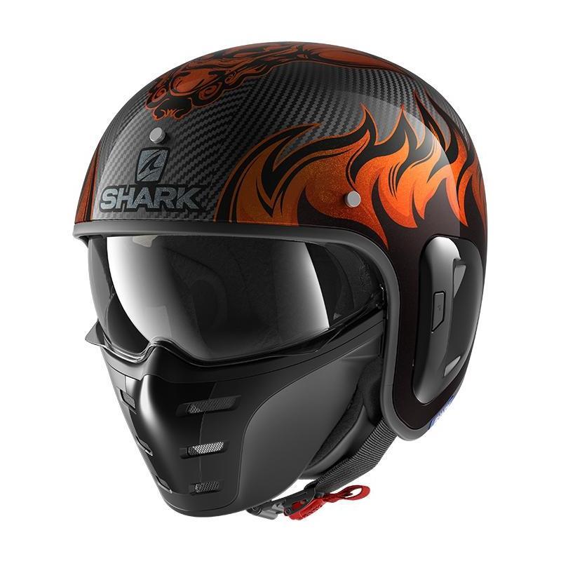 Casque jet Shark S-Drak Carbon 2 Dagon carbon/orange
