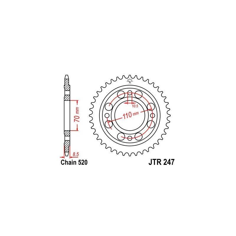 Couronne JT Sprockets Acier pas 520 41 dents - Pour Honda CM 250 Custom 82-84