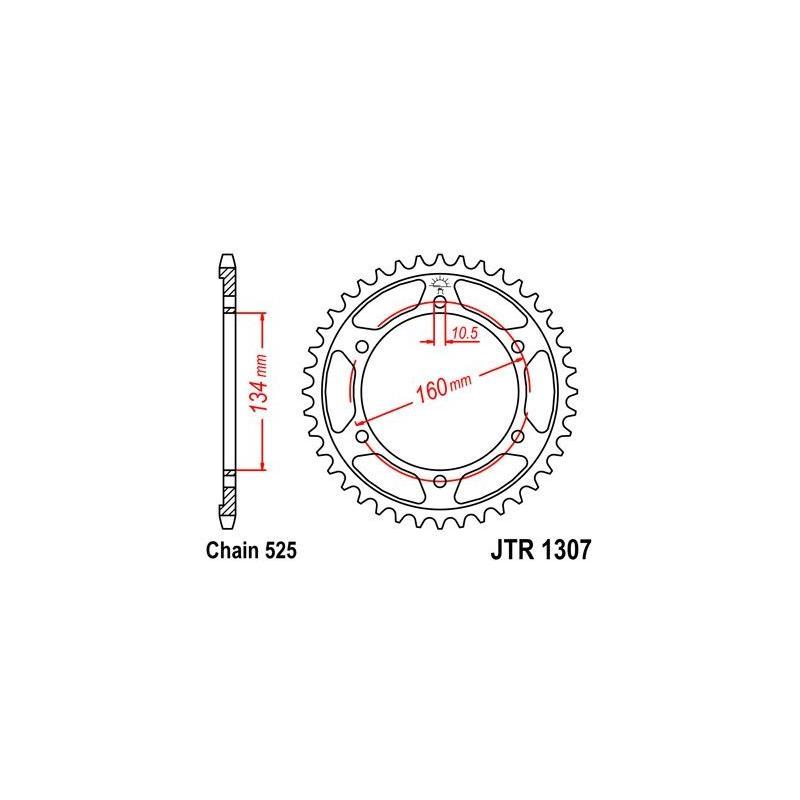 Couronne JT Sprockets Acier pas 525 45 dents - Pour Honda CBR 600 F 01-07