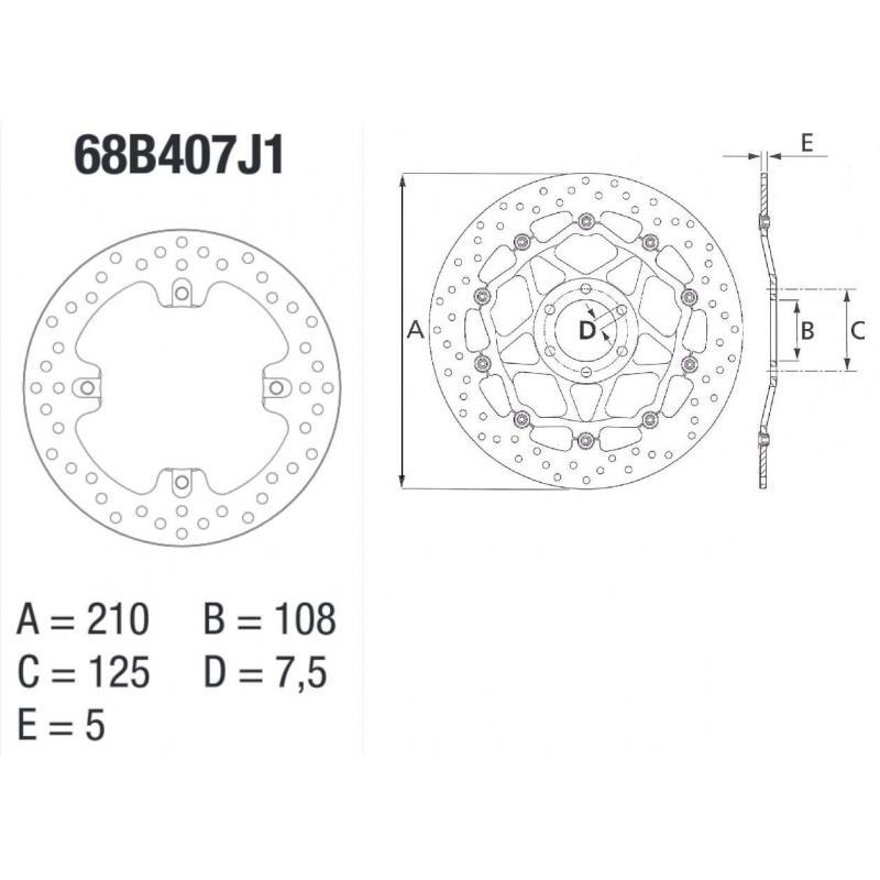 Disque de frein Brembo série Oro rond fixe arrière mv agusta f4r/brutale 1078