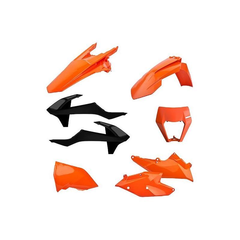 Kit plastique Polisport Enduro KTM 250 EXC TPI 18-19 orange/noir (couleur origine)