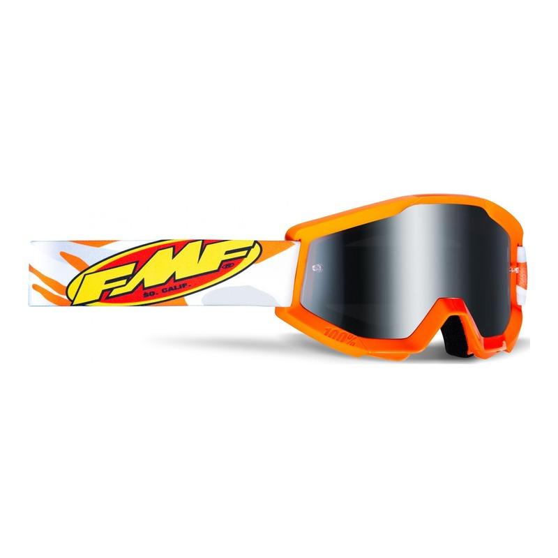 Masque cross FMF Vision PowerCore Assault gris/orange - écran iridium argent