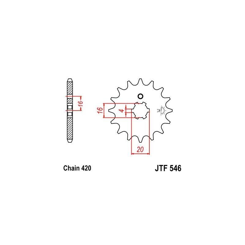 Pignon JT Sprockets Acier pas 420 14 dents - Pour Kawasaki KX 85 Petites roues 01-15