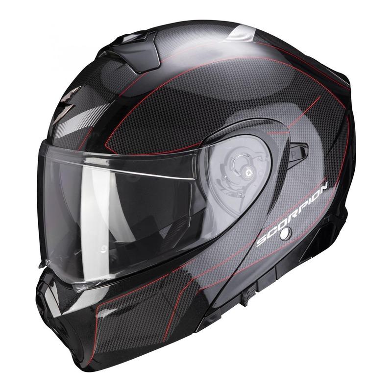 Casque modulable Scorpion EXO-930 Cielo nacré noir/rouge