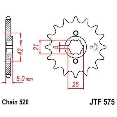 Pignon JT Sprockets Acier pas 520 15 dents - Pour Yamaha TT 600 E 96-00