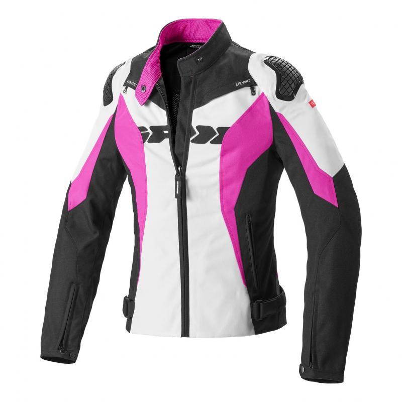Blouson femme textile Spidi Sport Warrior Tex fuchsia/blanc/noir