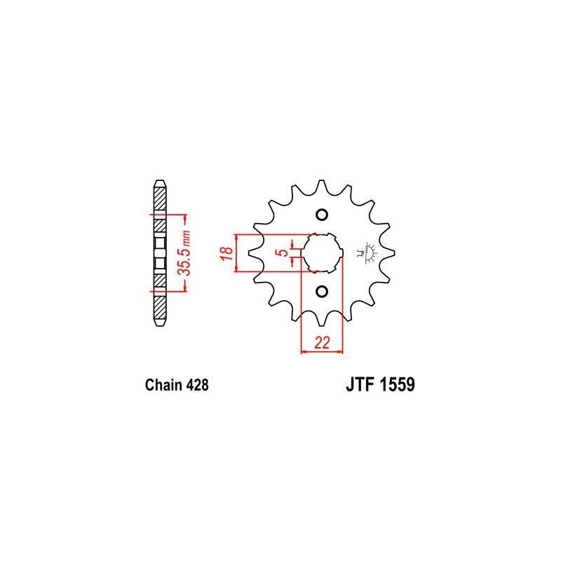 Pignon JT Sprockets Acier pas 428 14 dents - Pour Yamaha TW 125 99-04