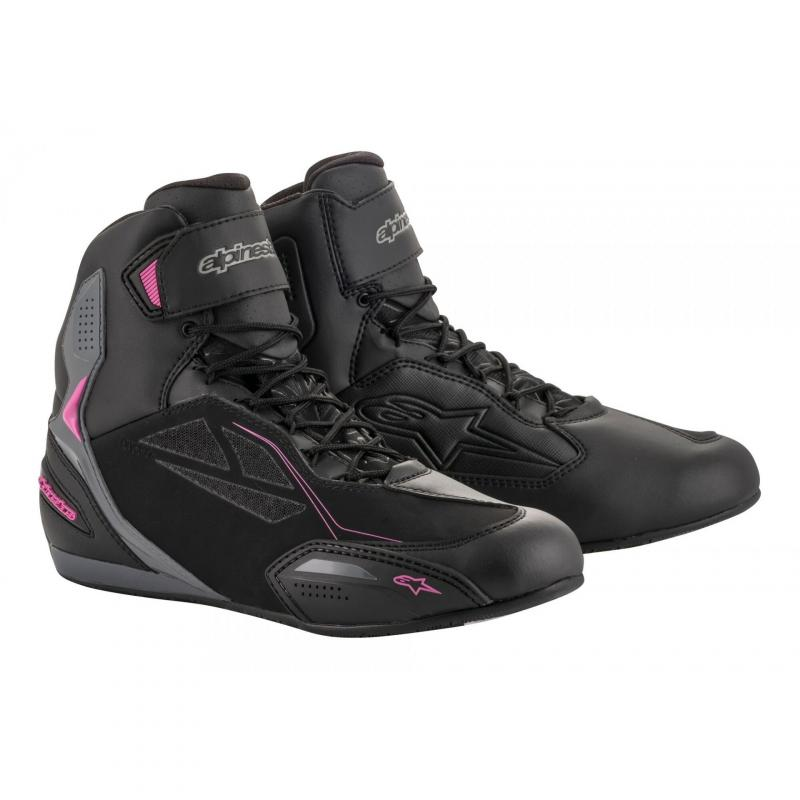 Chaussures moto femme Alpinestars Stella Faster 3 Drystar noir/gris foncé/fuchsia